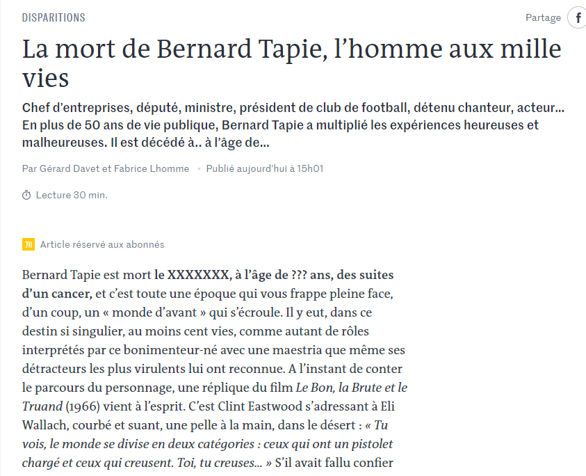 la mort de bernard tapie screen article Le Monde